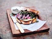 A grilled venison and green sauce sandwich