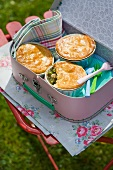 Mini chicken and pea pies for a picnic