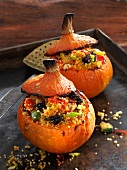 Hokkaido pumpkins filled with couscous