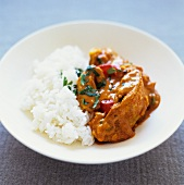 Indian chicken curry with ginger and coriander