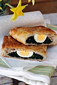 Spinach strudel with eggs for Easter (Italy)