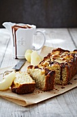 Pear and ginger cake with chocolate glaze