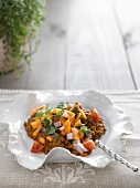 Lentil curry with papaya salsa
