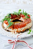 Aubergine and tomato terrine with feta and basil for Christmas dinner