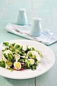 Salad with watercress, quail's eggs and parmesan