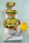 Piadina cones filled with couscous salad