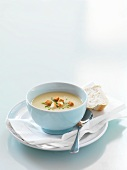 Parsnip and apple soup with croutons