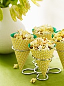 Popcorn Snack Mix in Paper Cones; In Metal Holders