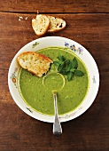 Cream of pea soup with mint