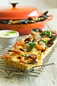 'Paella' quiche with saffron mayonnaise