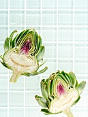 Two artichoke halves (view from above)