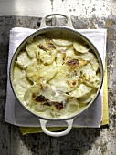 Potato gratin with spring onions, crème fraîche and parmesan