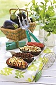 Aubergines with a variety of fillings