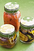 Pickled aubergines and tomato sauce