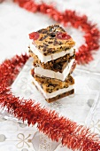 Christmas cake ice cream sandwiches