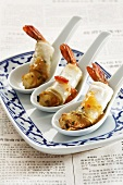 Marinated prawns wrapped in rice paper