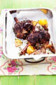 Legs of lamb with anchovies, garlic and thyme