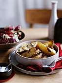 Patate al rosmarino (rosemary potatoes and radicchio salad)