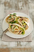 Grilled turkey breast, cucumber and mayonnaise wraps