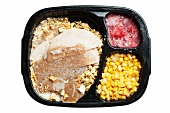 Frozen Turkey Dinner in Plastic Tray; White Background