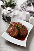 Duck in red wine sauce