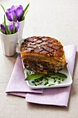 Roast pork belly with fresh herbs