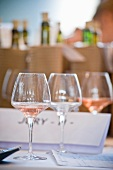 A row of wine glasses for wine tasting