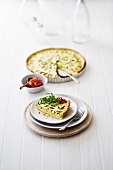 Courgette tart with rocket and dried tomatoes