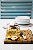 Chicken terrine with apricots and almonds