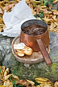 Autumnal onion soup with mushrooms