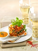 Salmon tartar with a papaya vinaigrette