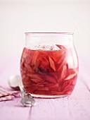 Stewed rhubarb in a jar