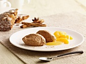 Gingerbread mousse with spice oranges