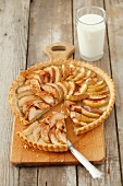 An apple tart, sliced