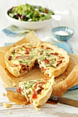 Dried tomato, Prosciutto and rocket quiche