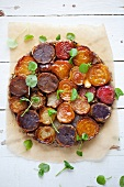Beetroot tart with potatoes and fennel