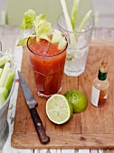 Bloody Mary with ingredients