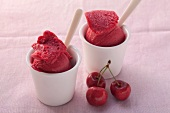 Cherry sorbet and fresh cherries