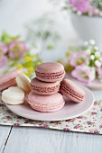 Pink and heart-shaped macaroons