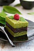Green tea cake filled with azuki beans