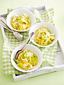 Tagliatelle with asparagus and saffron sauce