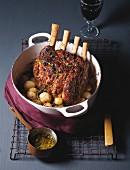 Beef rib roast with caramelised onions