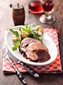 Roast lamb with a side salad