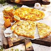Unleavened bread and herb baguette