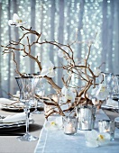 Christmas dining table decorated with orchids