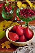 Pears poached in cranberry syrup