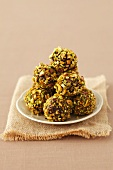 Chocolate truffles with pistachio