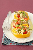 Stuffed peppers with barley, feta cheese and tomatoes