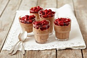 Chocolate mousse with raspberry sauce