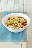 Couscous salad with chicken, cucumber and tomatoes
